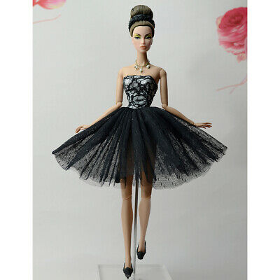 Handmade Black Wedding Dress Party Gown Clothes Outfits For 29cm Barbie Doll