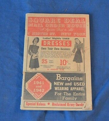 Vintage SQUARE DEAL Mail Order House CATALOG 1941 and 1942 Hester St. New York