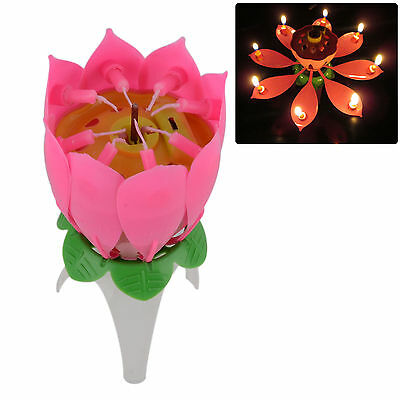 Lotus Style Party Candle Pink Coloured Petals