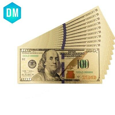 American 100 Dollar Normal Money 24k 999.9 Gold Banknote Paper Money 10pcs