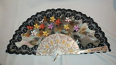 Hand Painted Asian Oriental Hand Fan Black Lace floral design El Corte Ingles