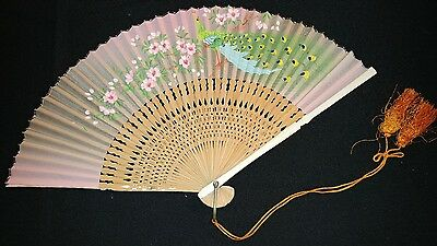 Hand Painted Asian Oriental Hand Fan bamboo peacock floral design unknown age