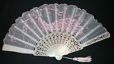 Hand Painted Asian Oriental Hand Fan Pink Lace peacock floral design unknown age