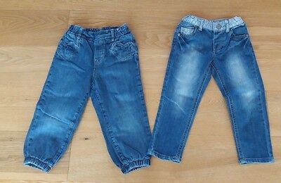 2 x Baby Girls  Blue Jeans 18-24 Months H&M Mothercare