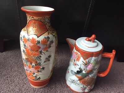 Antique Japanese Chinese Vase And Lidded Jug Peacock Oriental Bird Design Signed