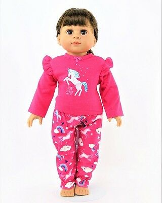 "Doll Clothes 18"" Pajamas Unicorn Pink Fits American Girl Doll"