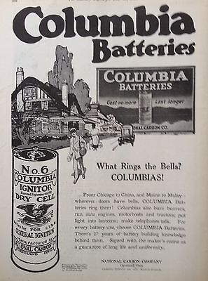 1916 Ad(F22)~Columbia No.6 Dry Cell Ignitor Battery, National Carbon Co.