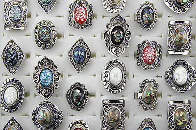 Wholesale lots 12pcs Shell&alloy vintage retro romantic fashion Big rings L301