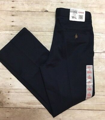 Izod Boys Navy Uniform Pants 14 Husky Wrinkle Free Easy Care Adjustable Waist