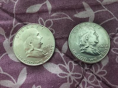 2 1948 Franklin Silver Half Dollar Coins Circulated