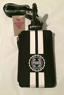pink by victoria secret black lanyard / ID holder / wallet brand new with tags