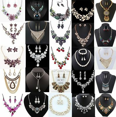Fashion Jewelry Women Bib Choker Chain Pendant Statement Necklace Set Earrings
