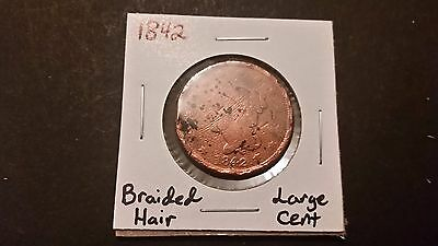 1842 Braided Hair Cent! Free Shipping!