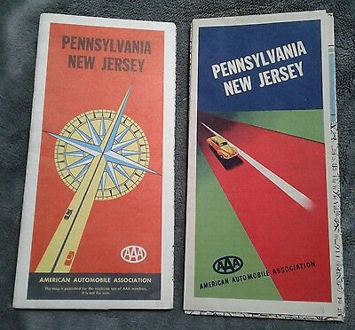 Vintage AAA 1948 & 1957 Pennsylvania New Jersey Road Maps Lot of 2
