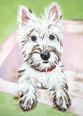 """West Highland Terrier WESTIE MATTED PRINT Painting """"DIRTY FACE"""" Dog RANDALL"""