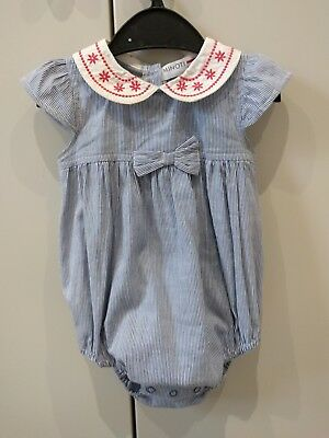 Peter Pan collar Playsuit 6-9 months Blue Candy Stripe Spanish Romany style