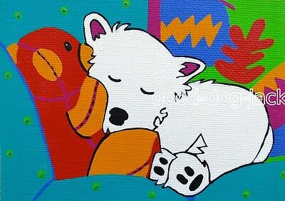 """West Highland Terrier ACEO WESTIE PRINT Painting """"MAGGIE"""" Dog RANDALL"""