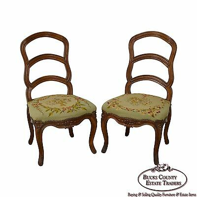 Antique Pair of 19th Century Walnut Louis XVI Style Ladder Back Needlepoint Side