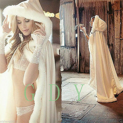 HOT Bridal Winter Wedding Cloak Cape Hooded with Fur Trim Long Bridal