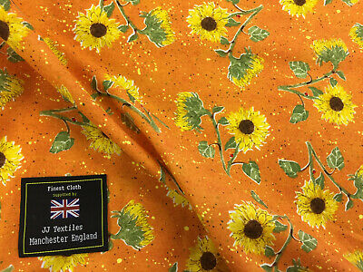 Orange Sunflowers Floral Printed 100% Cotton Poplin Fabric.