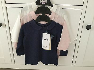 M&S pack of 3 Baby Girls Long Sleeve Collared Tops  .. Age 3-6 mths