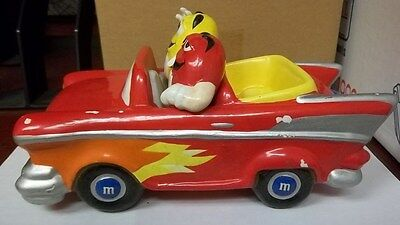 M&M Hot Rod Convertible Car Candy Dish, Red & Yellow, Nice Ceramic Collectible