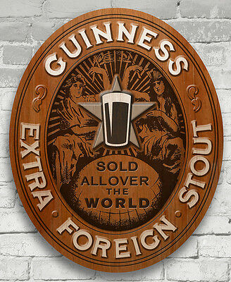 Guinness 3D Extra Foreign Stout ~ Bar / Pub Wood Sign ~ New