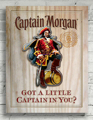 "Captain Morgan ""Got a Little Captain in You?"" 3D Wood Wall Art Bar / Pub Sign"