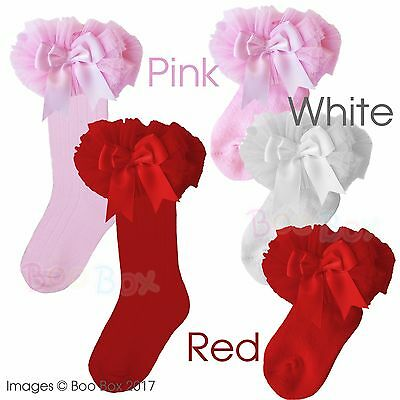 Baby Girls Tutu Satin Ribbon Bow Knee High or Ankle Socks Size 0-18 Months