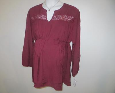 Maternity Top 2x 3x Plus Size Oh Baby By Motherhood Blouse Rayon Lace NWT NEW