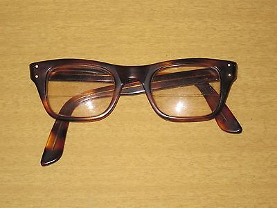 Vtg 1950's Bausch Lomb 5 3/4 Eye Safety Work Glasses Retro Brown Tortoise Frame