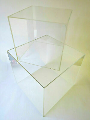 Clear Acrylic Display cubes 5 Sided open 1 end ( 4 sizes )
