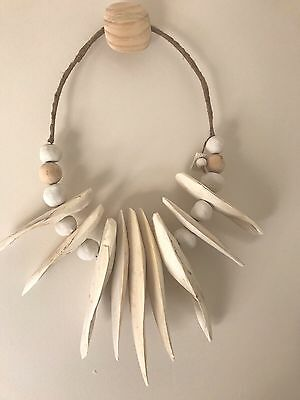 Cuttlefish Bone Wall Art Coastal Beach Necklace Beads White Tribal Bespoke