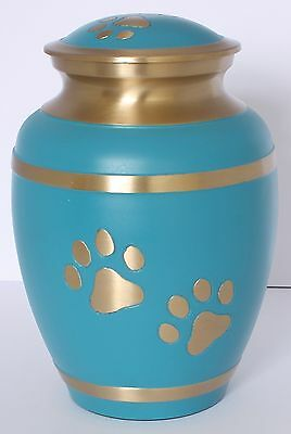 Pet Dog Cat Urn Paw Ashes Cremation Memorial Funeral Burial 2 Sizes Turquoise