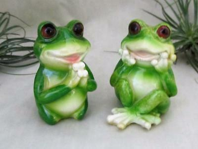 2 Happy Smiling Green Lucky Frogs Pray Meditate Frog Sculpture Free Shipping
