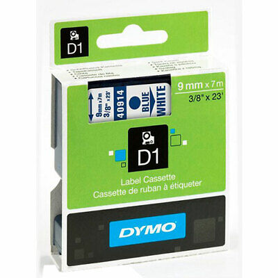 """Dymo DYM40914 LabelManager 160 D1 Label Tape, 3/8"""" x 23 ft, Blue on White"""