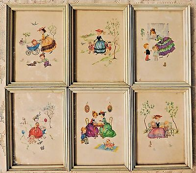 VINTAGE 1950's SET OF SIX (6) FRAMED DONALD ART CO. ADORABLE LITHOGRAPH PRINTS