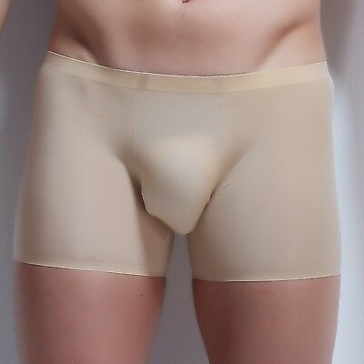 Seamless Men Ice silk Underwear Boxer Briefs Beige Bulge Pouch Underpants -2XL