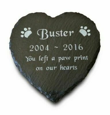 Personalised Engraved Heart Natural Slate Pet Memorial Grave Marker Plaque Dog
