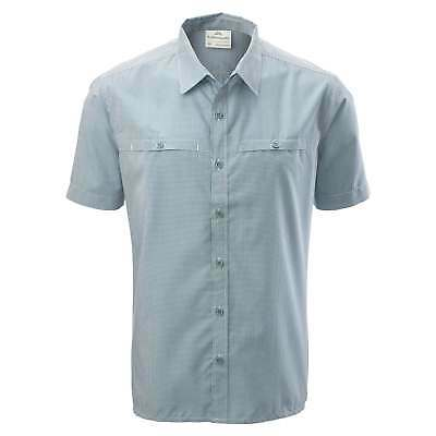 Kathmandu Tipu Mens Short Sleeve Button Down Shirt Travel Top Blue Check