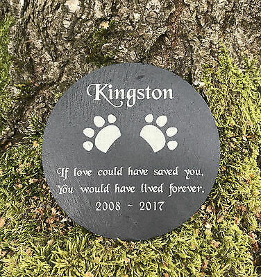 Pet Memorial Personalised Round Slate Grave Marker Headstone Plaque Dog