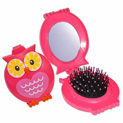 Owl Compact Mirror Travel Folding Hair brush Handbag Pocket Black/Pink