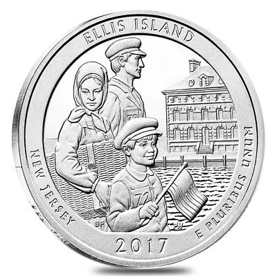 2017 5 oz Silver America the Beautiful ATB New Jersey Ellis Island (Statue of Li