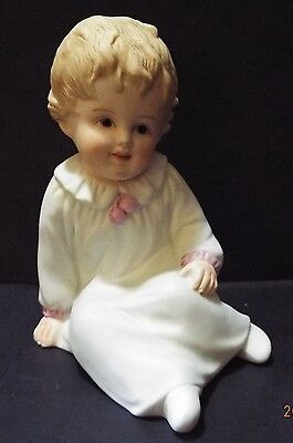 Vintage Bisque Piano Baby by Andrea #8376 Little Girl in PJs