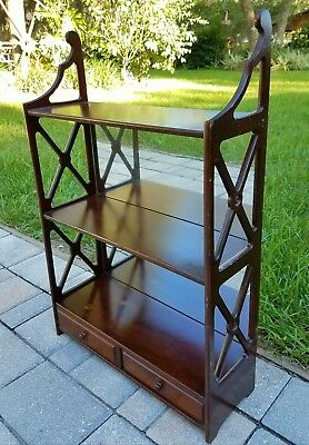 Wall shelf Chippendale fretwork Mirror curio teacup drawer Butler Furniture