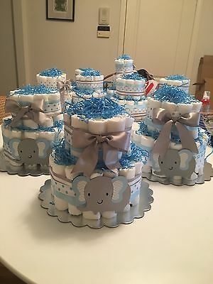 """2 TIER DIAPER CAKES - """"It's a boy"""" baby shower - beautiful elephant cakes!"""