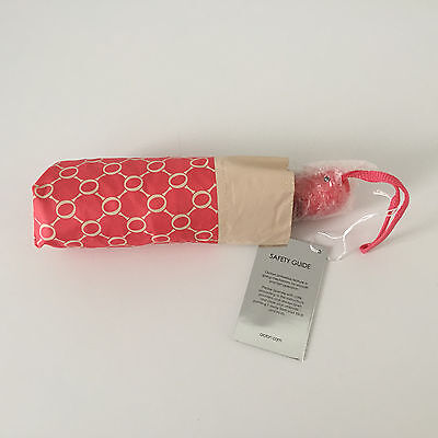 'oroton' Bnwt Pink/milk Fold Up Umbrella With Automatic Open/close Button