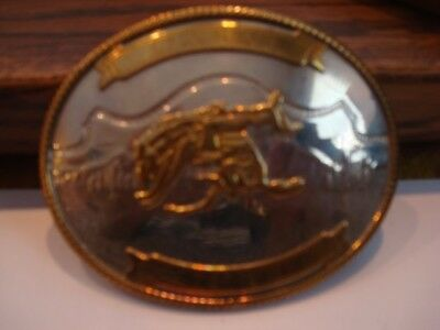 Vintage, German Silver, Belt Buckle, Rodeo Bronco Riding Design