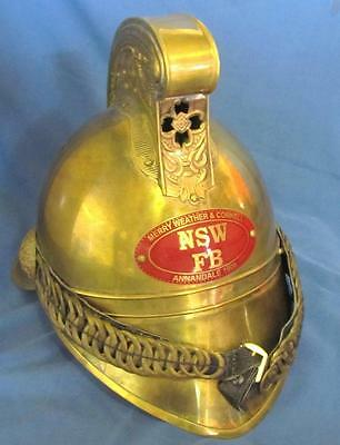 Amazing Collectable Full Size Nsw Annandale Brass Fire Helmet.