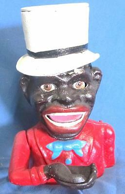 Collectable Cast Iron Jolly Boy / Hat Mechanical Money Bank  .